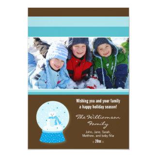 Polar Bear Snowglobe Custom Family Holiday Card