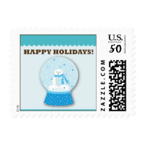Polar Bear Snowglobes Happy Holidays Postage