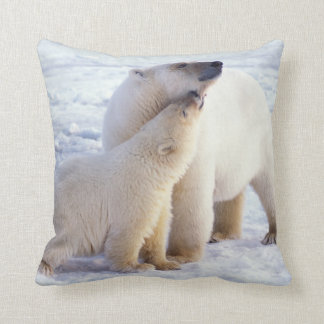 Polar bear sow with cub, pack ice of the throw pillow