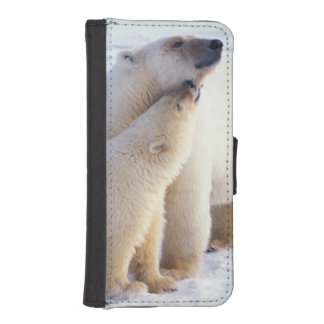 Polar bear sow with cub, pack ice of the wallet phone case for iPhone SE/5/5s