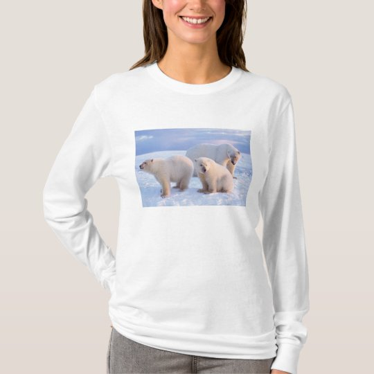 Polar bear sow with cubs on pack ice of coastal T-Shirt