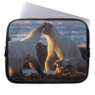 Polar bear sows with cub at side, 1002 coastal laptop sleeve