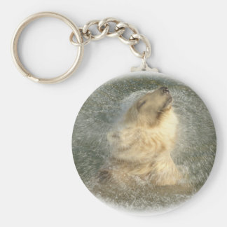 Polar bear splash keychain