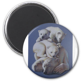 Polar Bear Stack 2 Inch Round Magnet