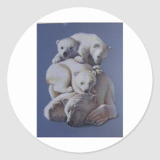 Polar Bear Stack Classic Round Sticker
