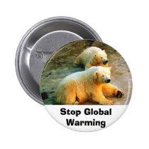 Polar Bear Stop Global Warming Button Pin