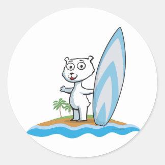 Polar Bear Surfer Classic Round Sticker
