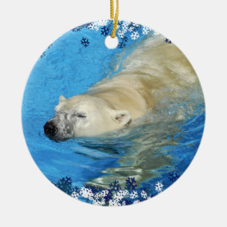 Polar bear swimming ceramic ornament