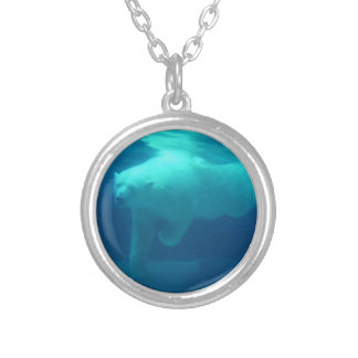 Polar Bear swimming collection Silver Plated Necklace