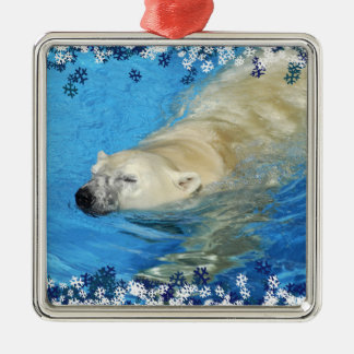 Polar bear swimming metal ornament