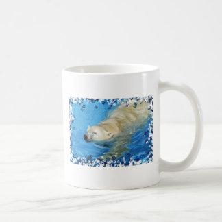 Polar bear swimming coffee mugs