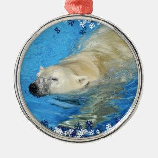 Polar bear swimming ornaments