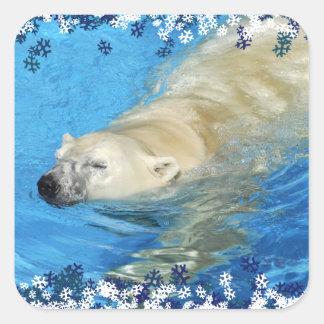 Polar bear swimming square sticker