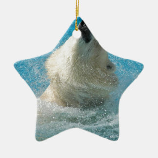 Polar Bear Taking a Swim Ceramic Ornament