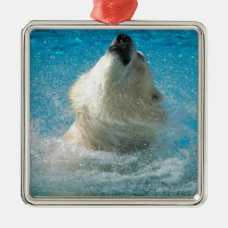 Polar Bear Taking a Swim Metal Ornament