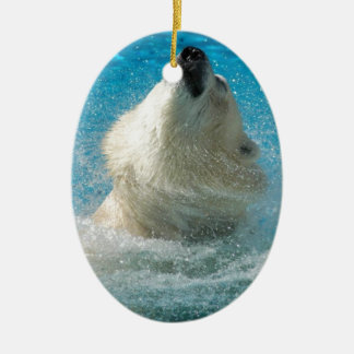 Polar Bear Taking a Swim Ornaments