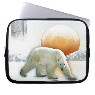 Polar Bear & Totem Pole Arctic Wildlife Art Laptop Sleeve