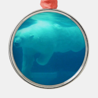 Polar Bear Underwater Metal Ornament
