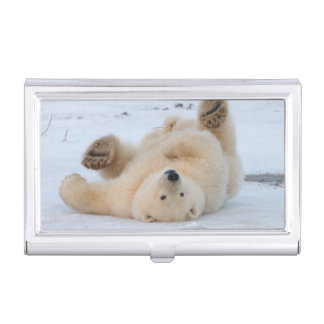 polar bear, Ursus maritimus, cub rolling 3 Business Card Case