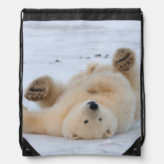 polar bear, Ursus maritimus, cub rolling 3 Drawstring Bag
