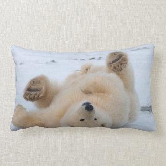 polar bear, Ursus maritimus, cub rolling 3 Lumbar Pillow
