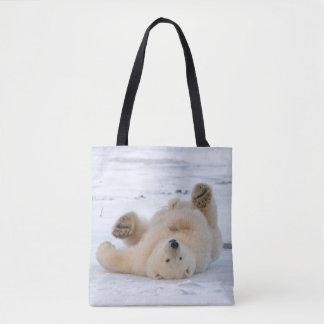 polar bear, Ursus maritimus, cub rolling 3 Tote Bag
