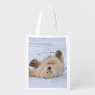 polar bear, Ursus maritimus, cub rolling 3 Reusable Grocery Bags