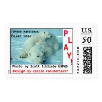 Polar bear, (Ursus maritimus), mother and cub Postage