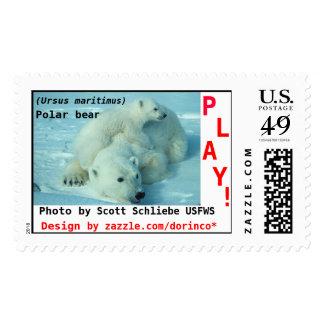 Polar bear, (Ursus maritimus), mother and cub Stamp