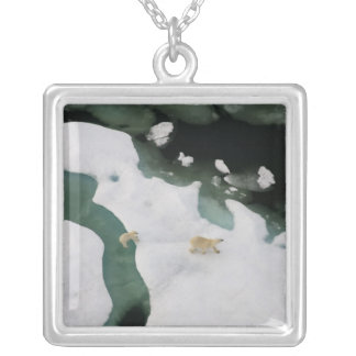polar bear, Ursus maritimus, sow with cub 4 Silver Plated Necklace