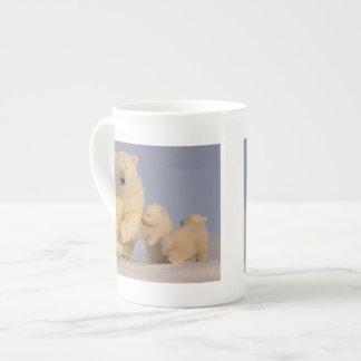 polar bear, Ursus maritimus, sow with newborn 3 Porcelain Mug