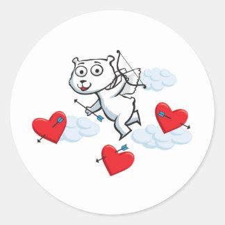 Polar Bear Valentine Classic Round Sticker
