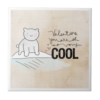 Polar Bear Valentine | You Are So Very COOL Small Square Tile