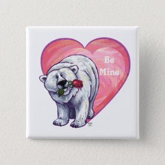 Polar Bear Valentine's Day Button