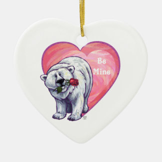 Polar Bear Valentine's Day Ceramic Ornament