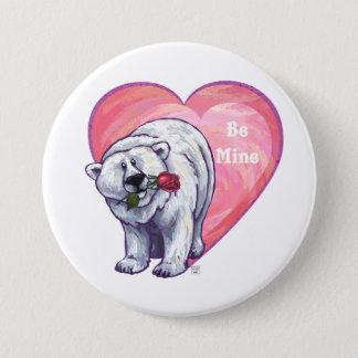 Polar Bear Valentine's Day Pinback Button