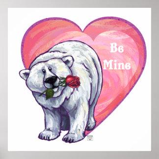 Polar Bear Valentine's Day Poster