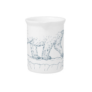 Polar Bear Walking Iceberg Ukiyo-e Beverage Pitcher