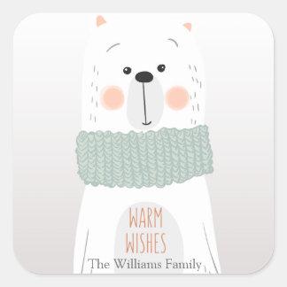 Polar bear - Warm wishes - Christmas stickers