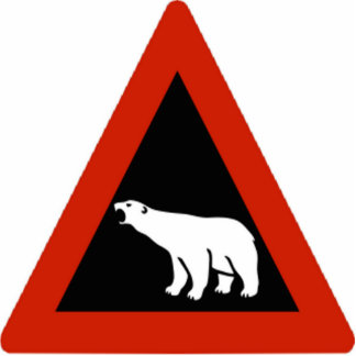 Polar Bear warning sign Statuette