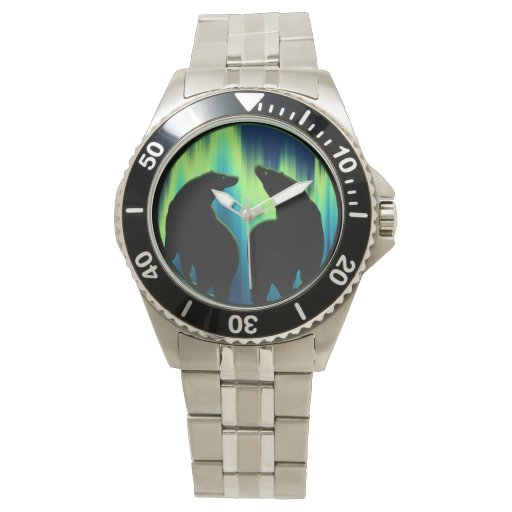 Polar bear watch wildlife art bear wrist watch zazzle for Minimal art wrist watch