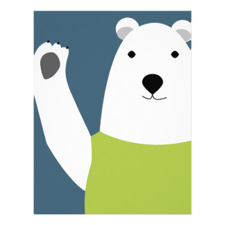 Polar Bear Waving Letterhead