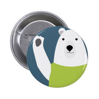 Polar Bear Waving Pinback Button
