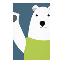 Polar Bear Waving Stationery