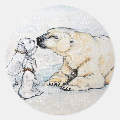 Polar Bear Westies Round Stickers