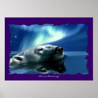 Polar Bear Wildlife Art Poster Print