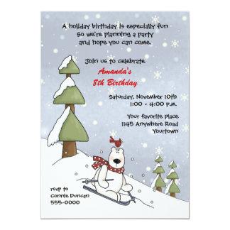 "Polar Bear Winter Birthday Invitation 5"" X 7"" Invitation Card"
