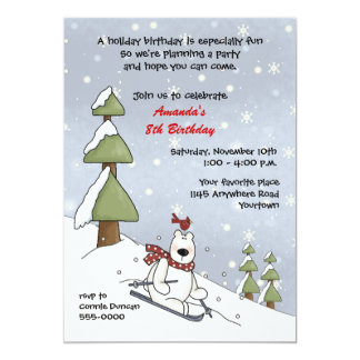 Polar Bear Winter Birthday Invitation