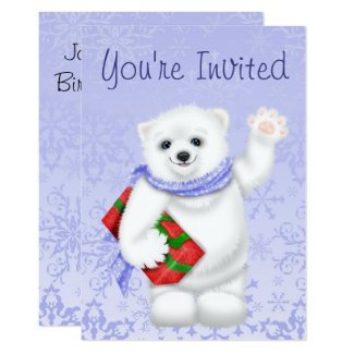Polar Bear Winter Birthday Invitations for Girls