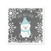 Polar Bear Winter Boy Baby Shower Napkins